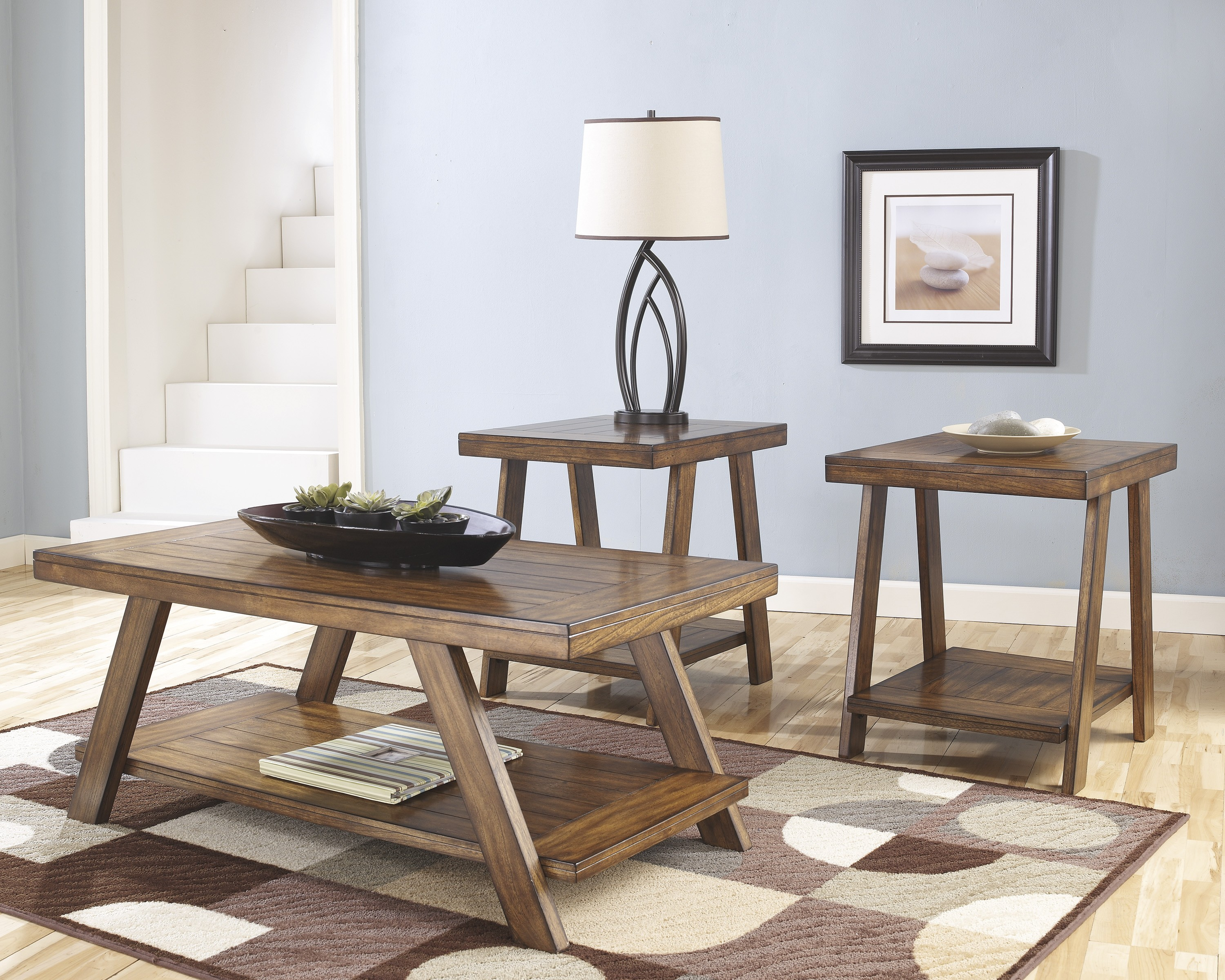 Furniture clearance center tables bradley by ashley oak t392 13 cocktail table and two end tables geotapseo Choice Image