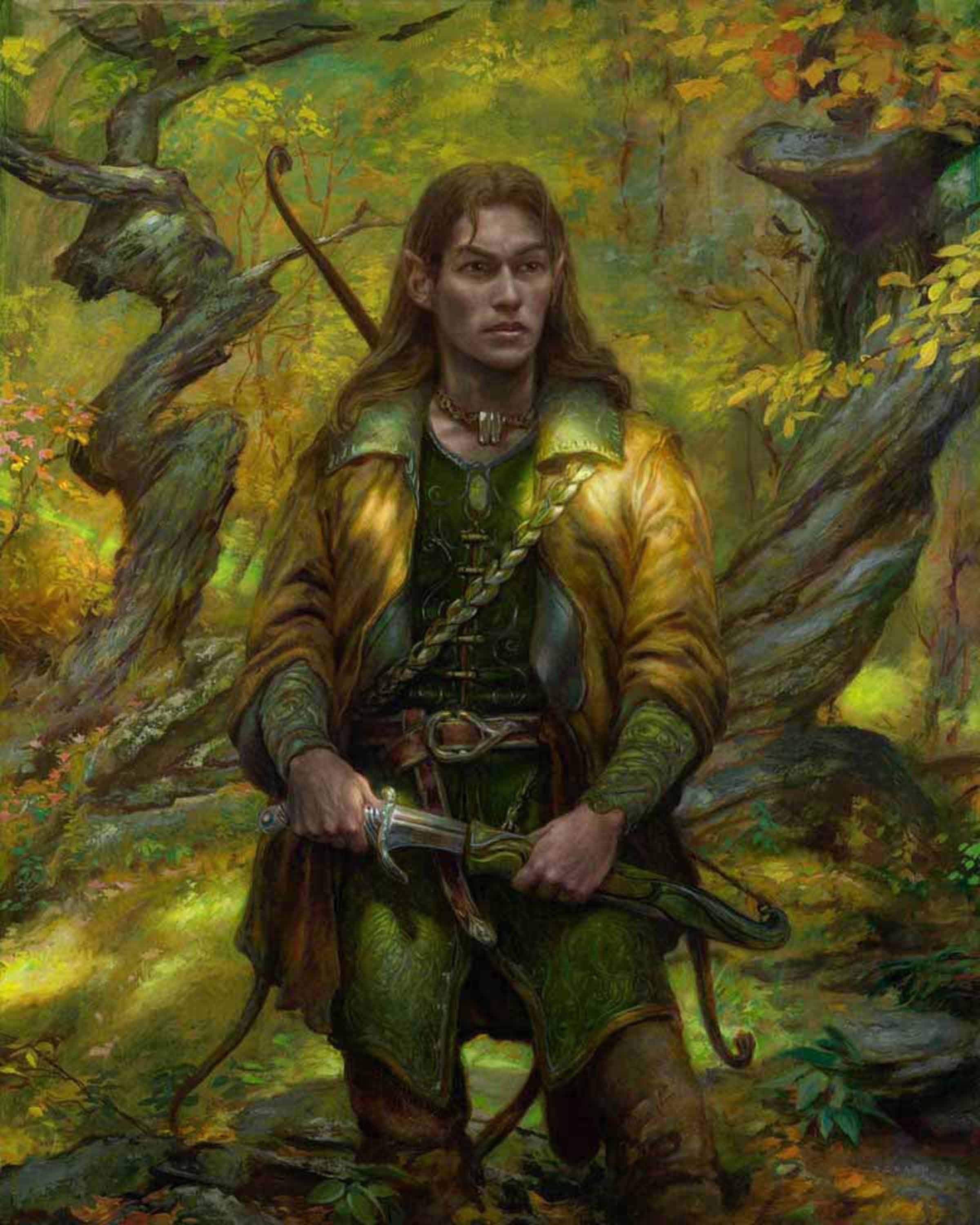 "Legolas in Mirkwood 30"" x 24""  Oill on Panel collection of Priscilla and Mark Olsen"