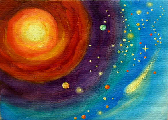 """Comet - 5"""" x 7"""" Oil on Stretched Canvas Sold"""