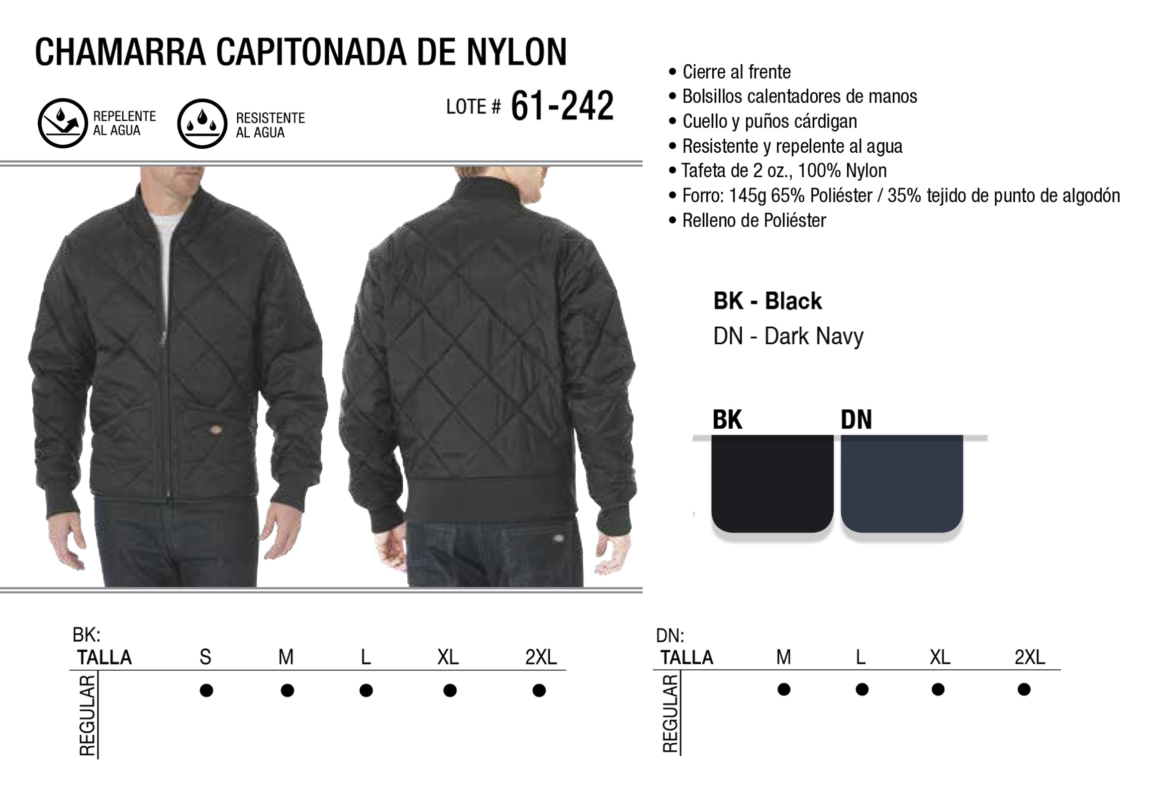 Chamarra Capitonada de Nylon. 61-242.