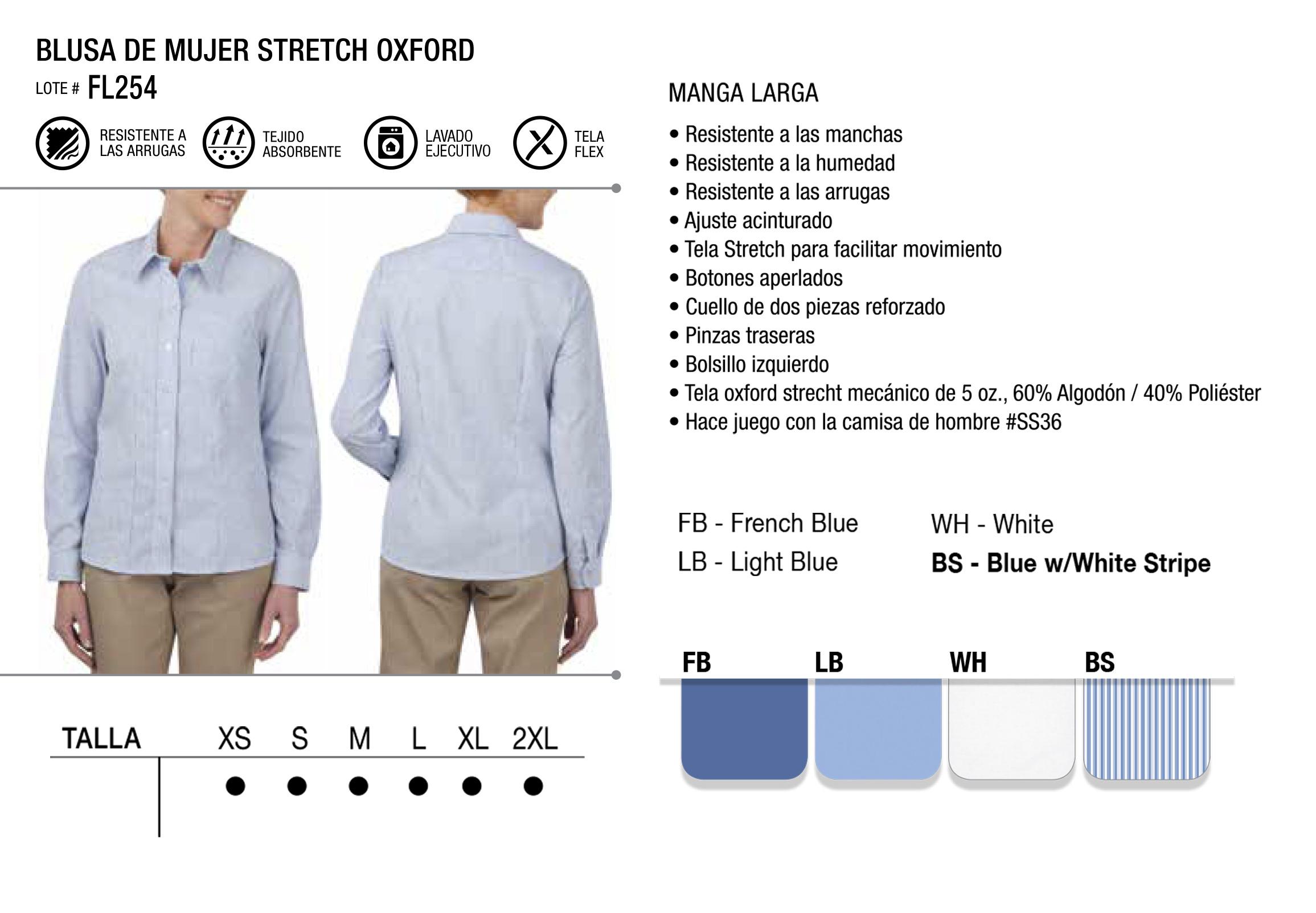Blusa Stretch Oxford. Manga Larga. FL254.
