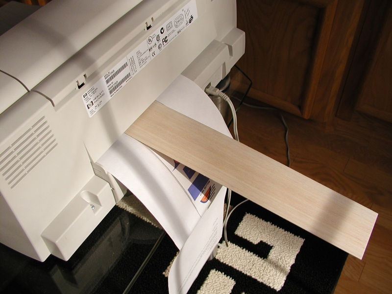 While holding the backing sheet and balsa strip, feed them into the printer until they register. You can make minor adjustments to the balsa sheet alignment after it is registered in the printer.