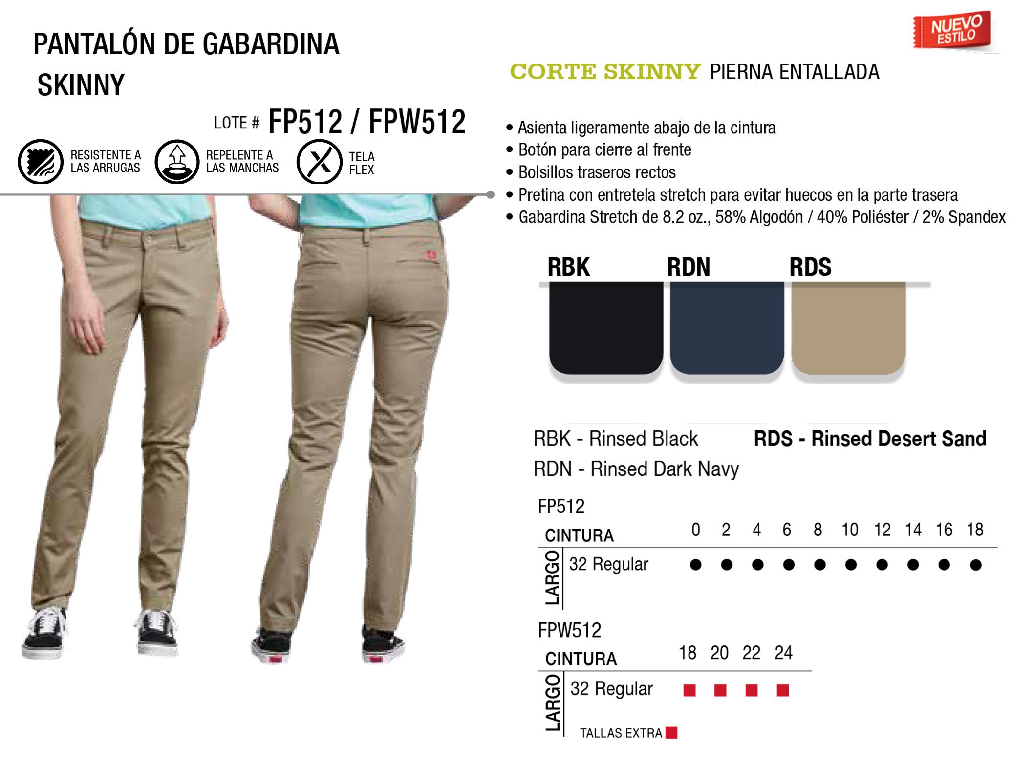 Pantalón de Gabardina Skinny. Corte Skinny. FP512/FPW512.