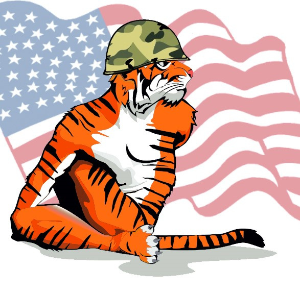 Bengal Tiger Soldier With Flag