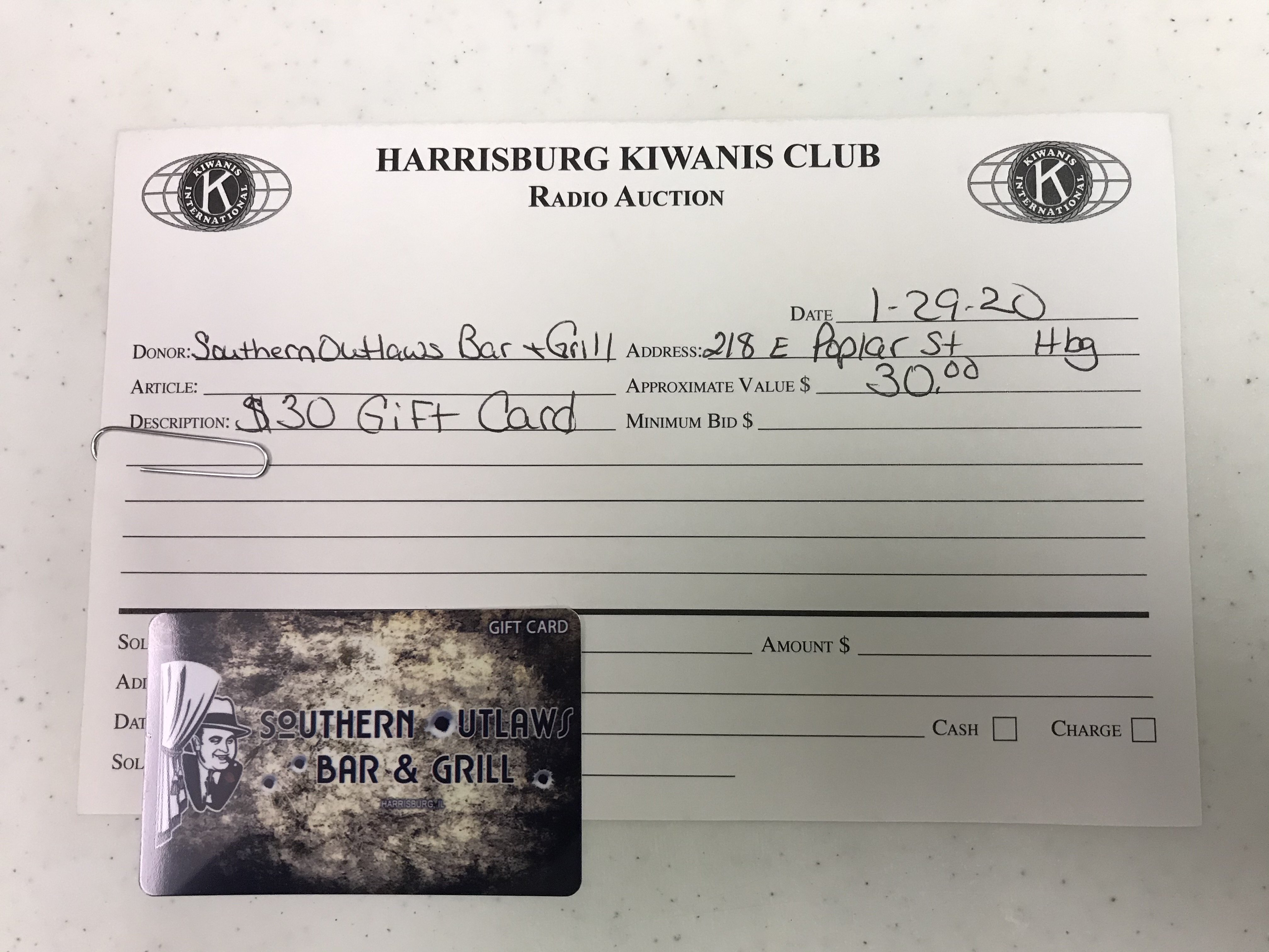 Item 120 - Southern Outlaws Bar & Grill $30 Gift Card