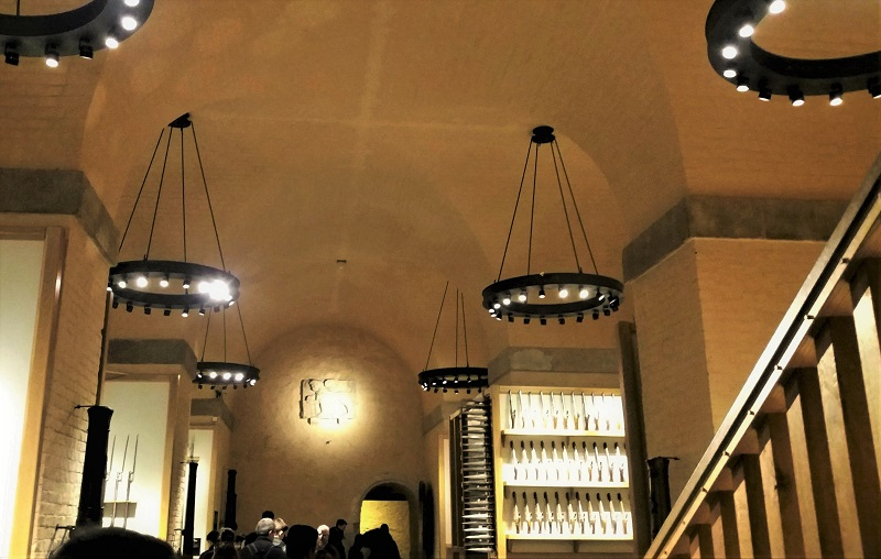 Pewter finished chandeliers in the Tower of London, White Tower .