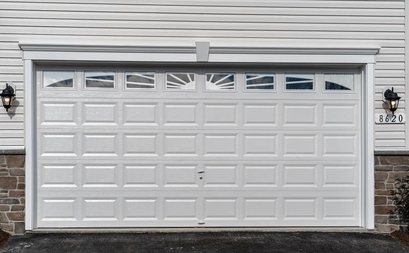 White Garage Door with Windows at Top