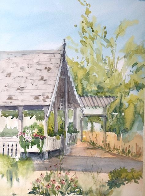 """At the Idea Garden Watercolor 11"""" X 15"""" $250."""