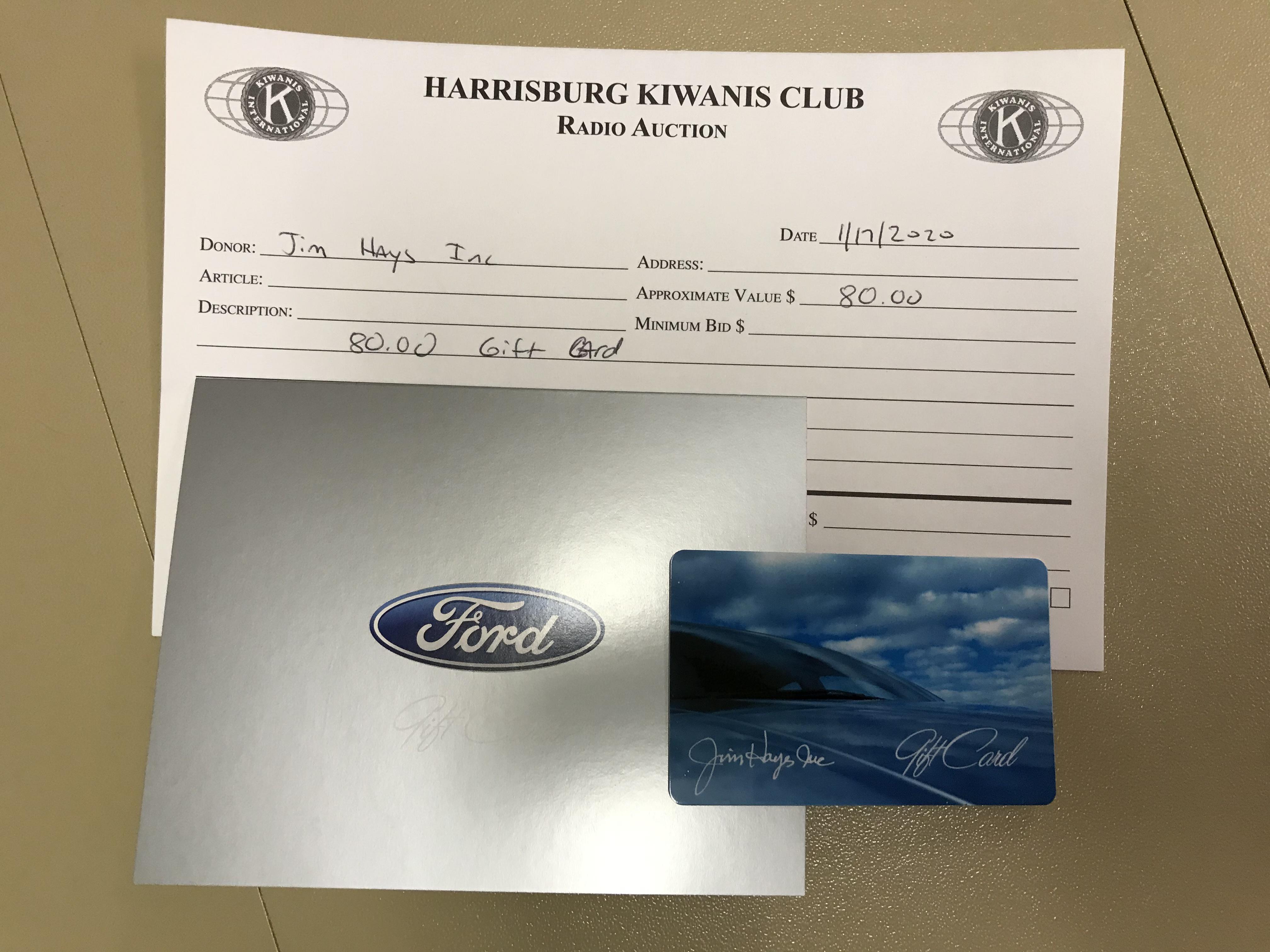 Item 224 - Jim Hayes, Inc. $80 Gift Card