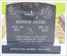 Upright granite headstone||||