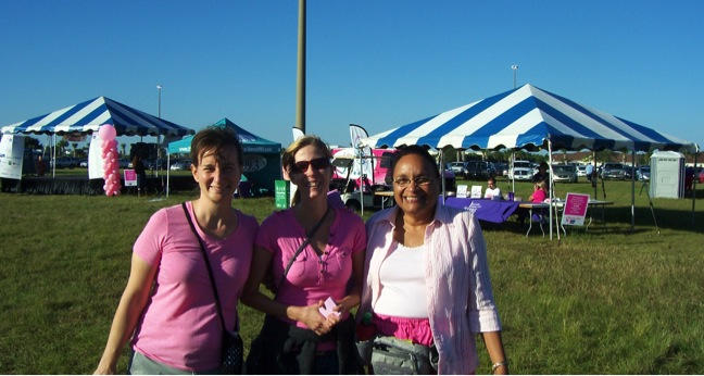 Some of the Evangelism Team Ready to Distribute Tracts at the Breast Cancer Walk in Viera, FL