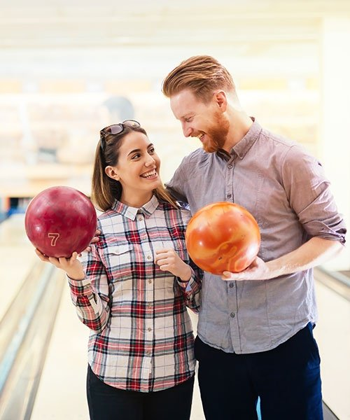 Couple Enjoying Bowling Together