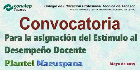 Convocatoria para la asignación del Estímulo  al Desempeño Docente, Plantel Macuspana.