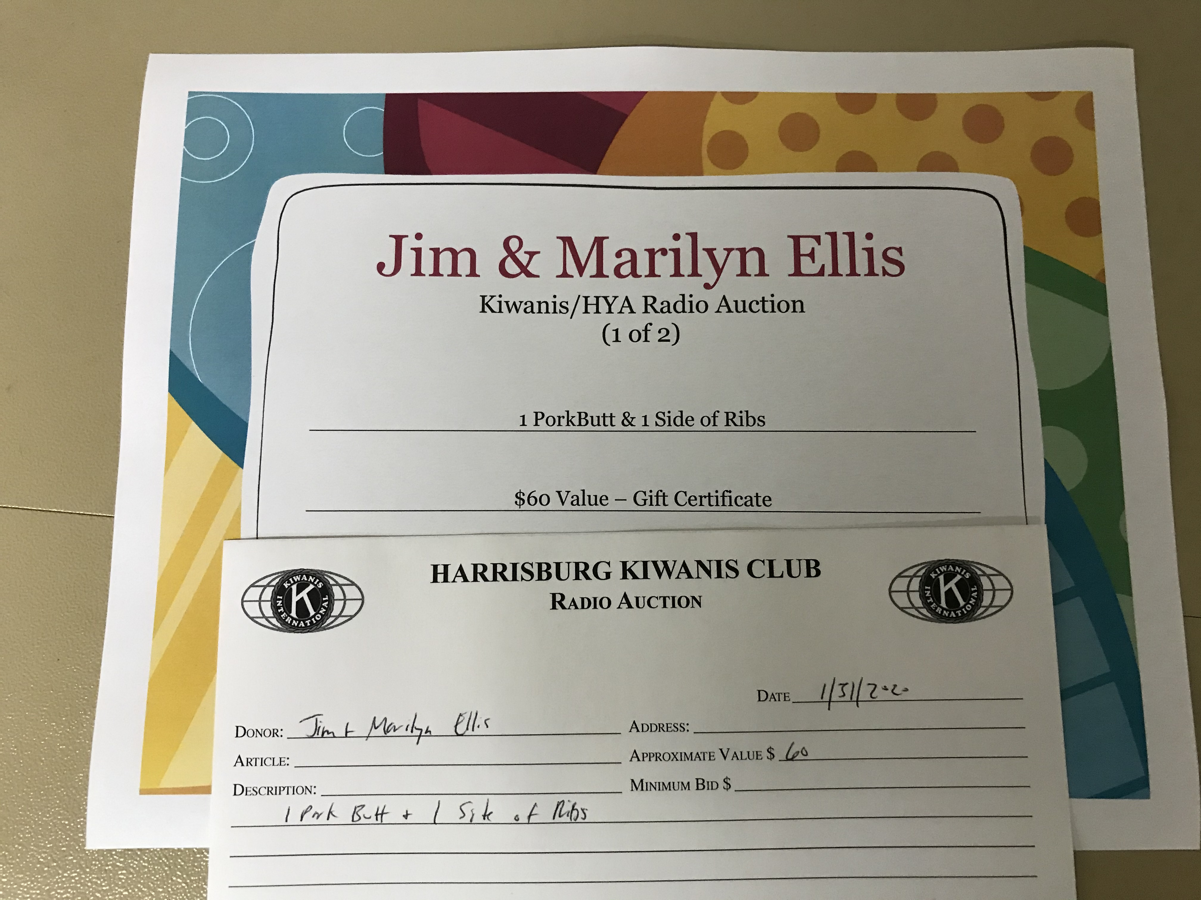Item 428 - Jim & Marilyn Ellis 1 Pork Butt & 1 Side of Ribs