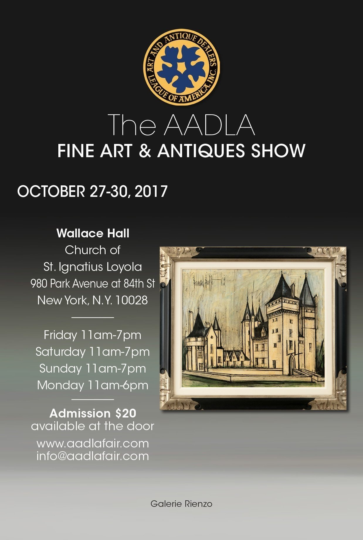 The AADLA Fine Art & Antiques Show flyer