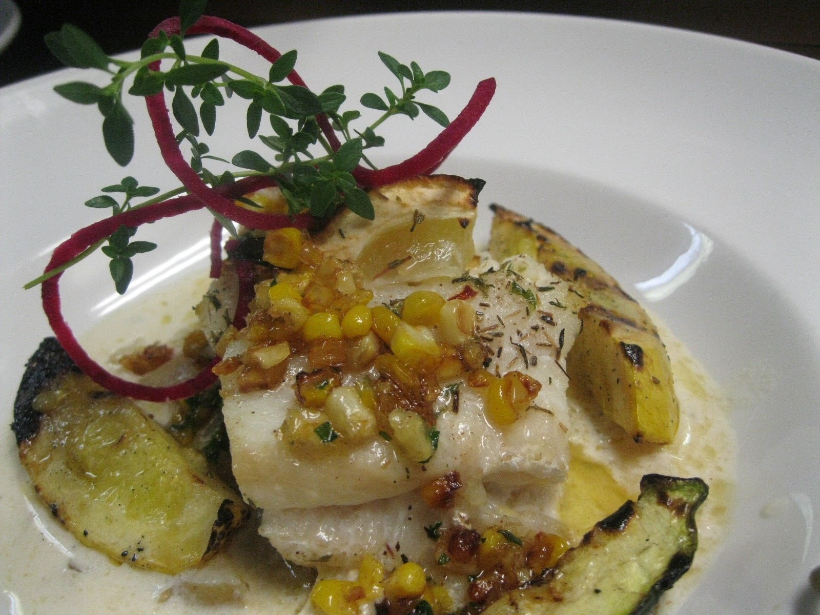 Grilled east coast halibut with a deconstructed new england chowder