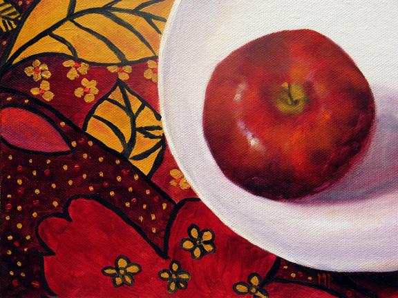 "Burgundy Apple ~ 6""x8""  Oil on Canvas Panel"
