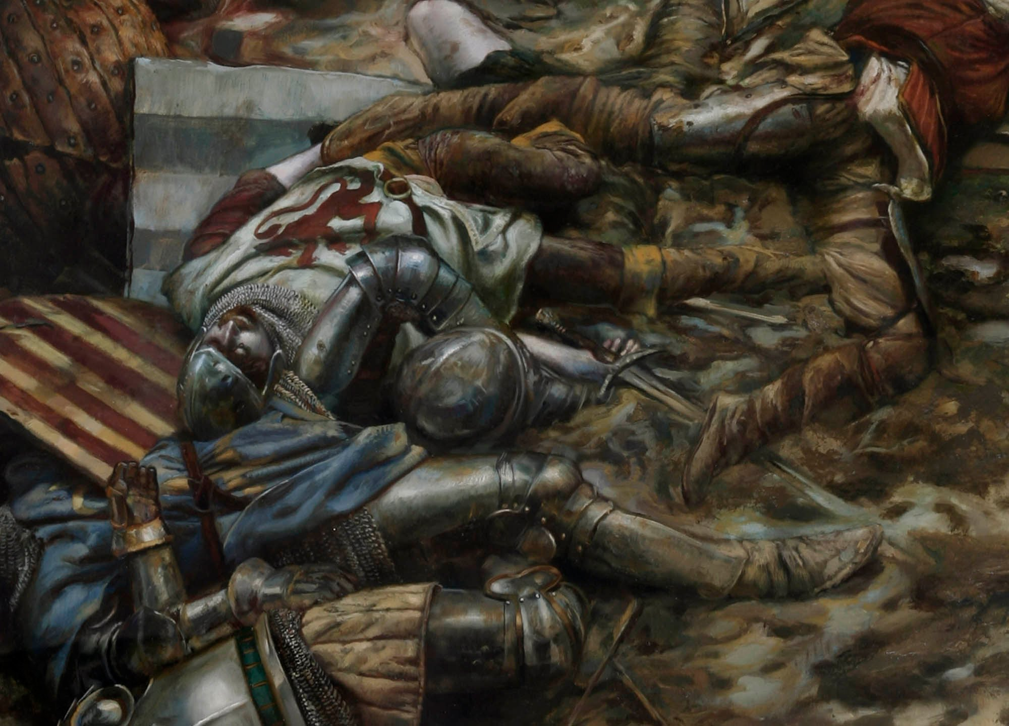 "Battle of Agincourt, 25 October, 1415 - detail 48"" x 74""  Oil on Panel 2007 Book cover illustration for Cripled Angel by Isobele Carmody"