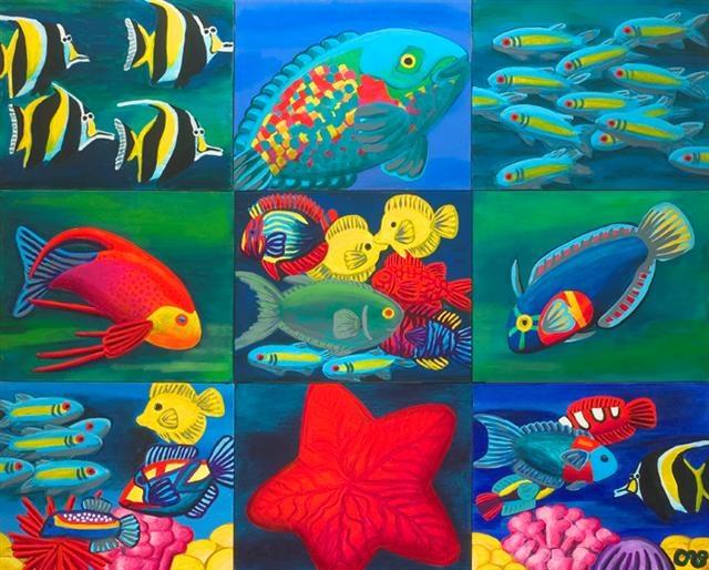 """Carol Spils, Hawaiian Fish, 48""""x60"""" Acrylic"""