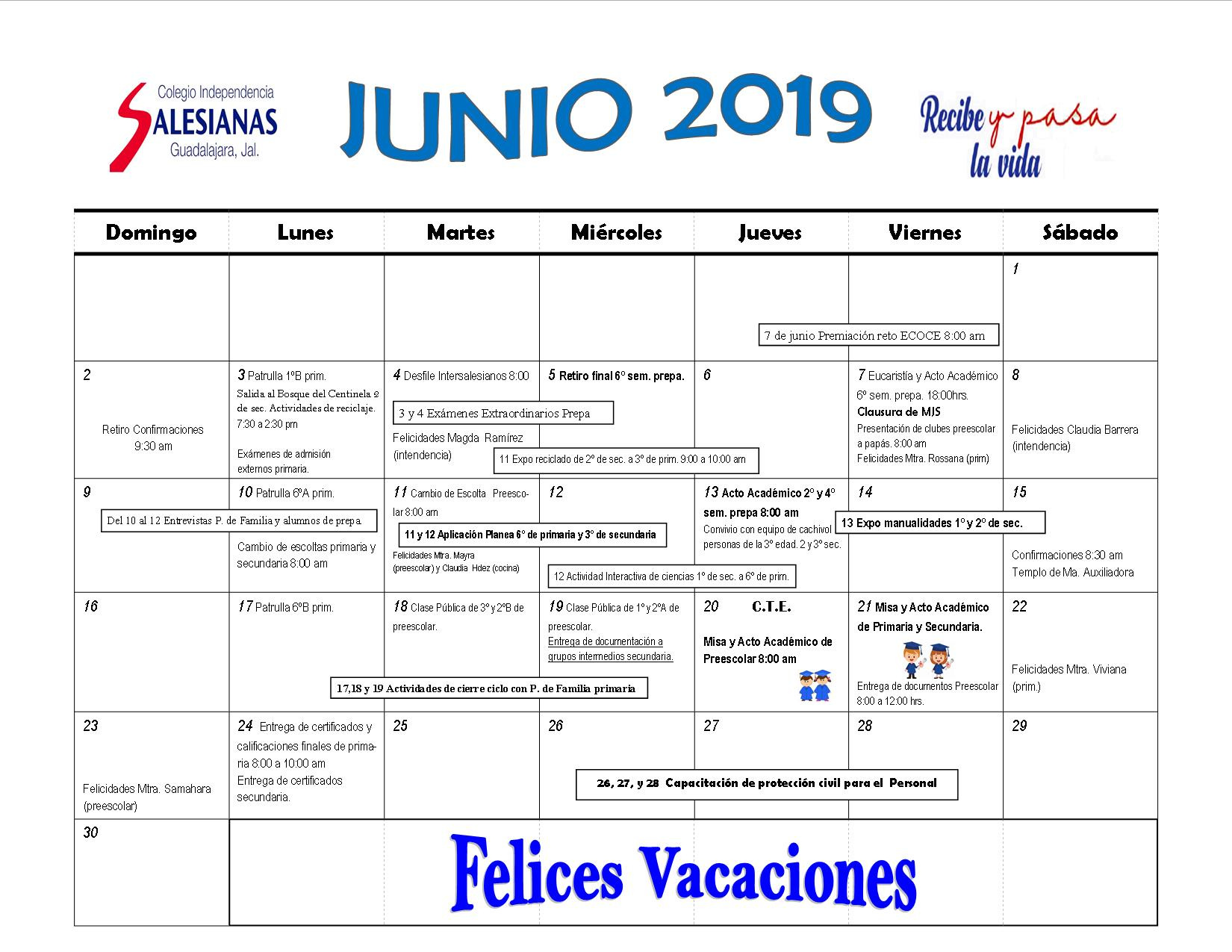 Junio 2019 Calendario.Colegio Independencia A C Calendario Junio 2019
