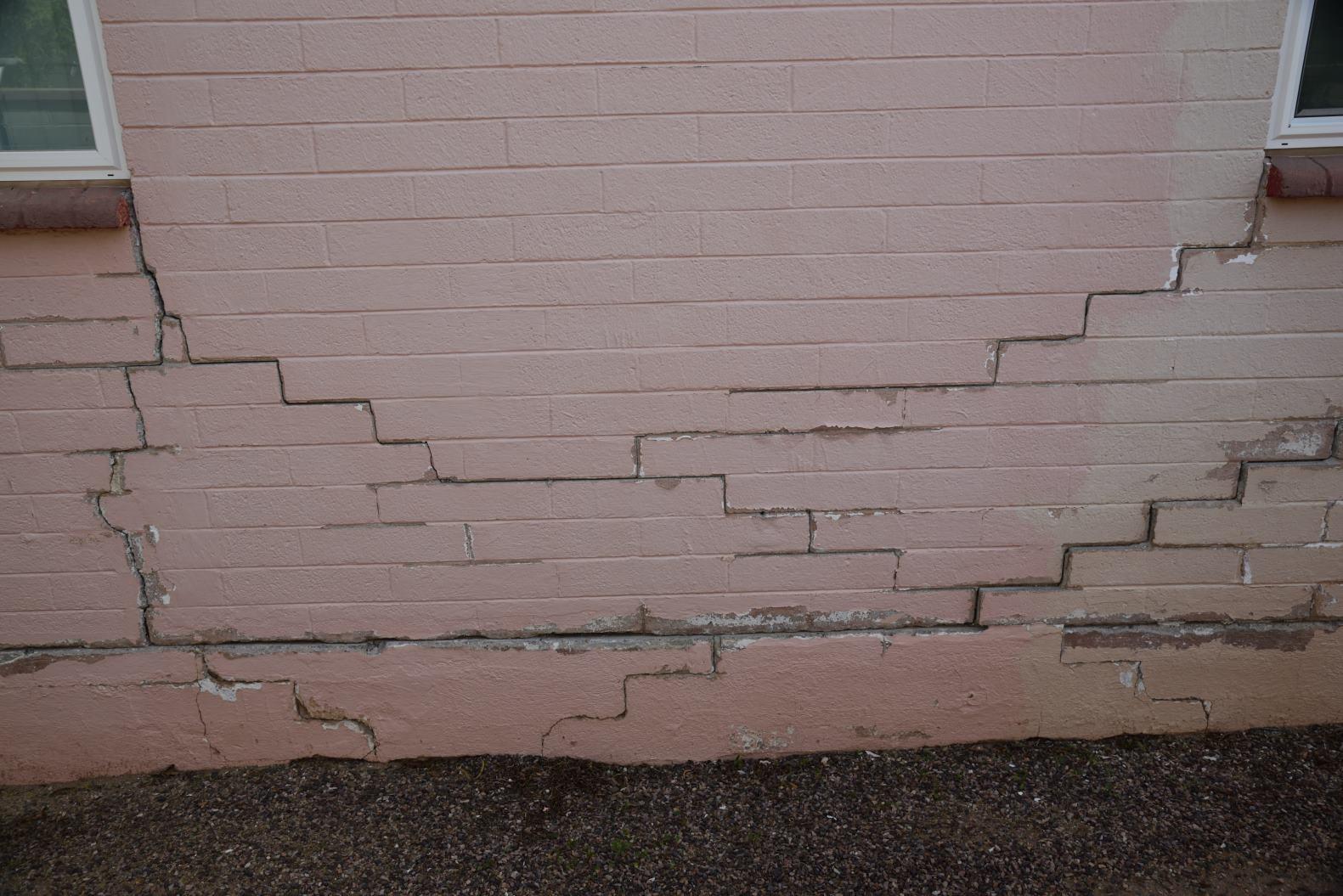 Cracked Concrete Masonry Wall