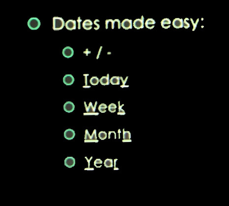 Date shortcuts