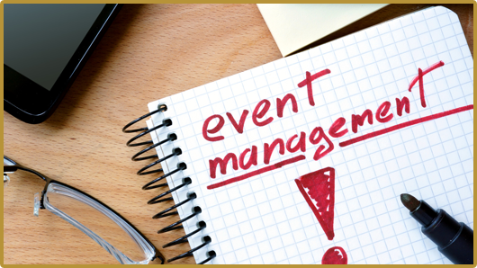 Notepad with Event Management on Office Wooden Table