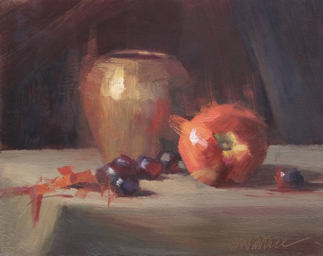 "Nancy Wallace, Brassy Apple, 8"" x 10"" Oil"