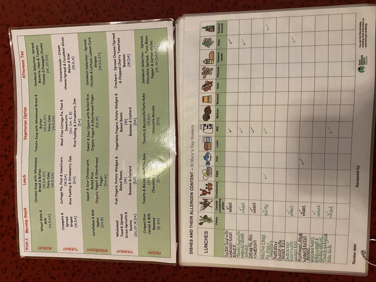 Example menu