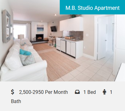 M.B. Studio Apartment Classic Beach Pad Walk to the Beach or Downtown Manhattan Beach! Large studio apartment with a sitting area, kitchenette, and full bathroom! Nicely decorated, fully furnished beach getaway with a cozy fireplace…