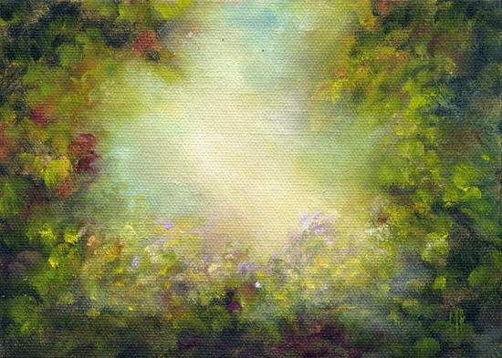 """Peaceful Garden ~ 5""""x7""""   Oil on stretched canvas"""