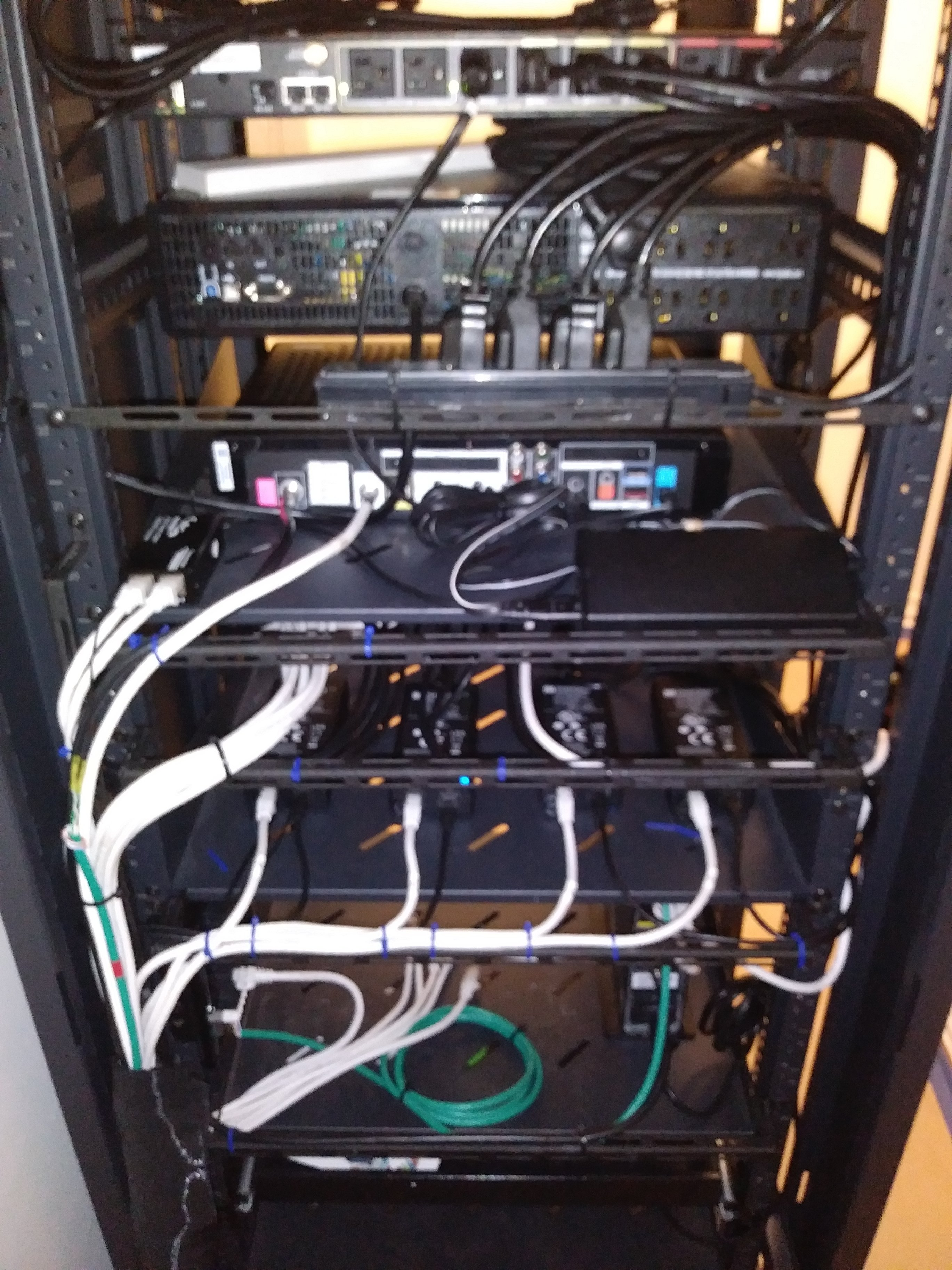 Centralized equipment in a rack.