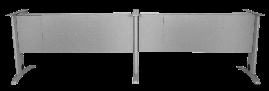 EST0004 ESTRUCTURA 2 EN LINEA CON FALDON METALICO EXTENDIBLE 280-370 X 72.5 PLATA