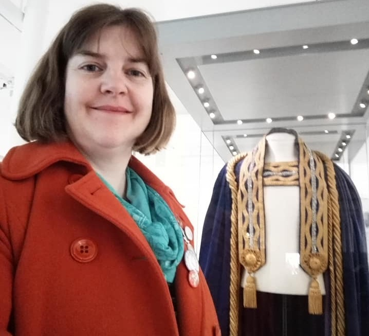 Susan with Audrey Mosson's Railway Queen gown