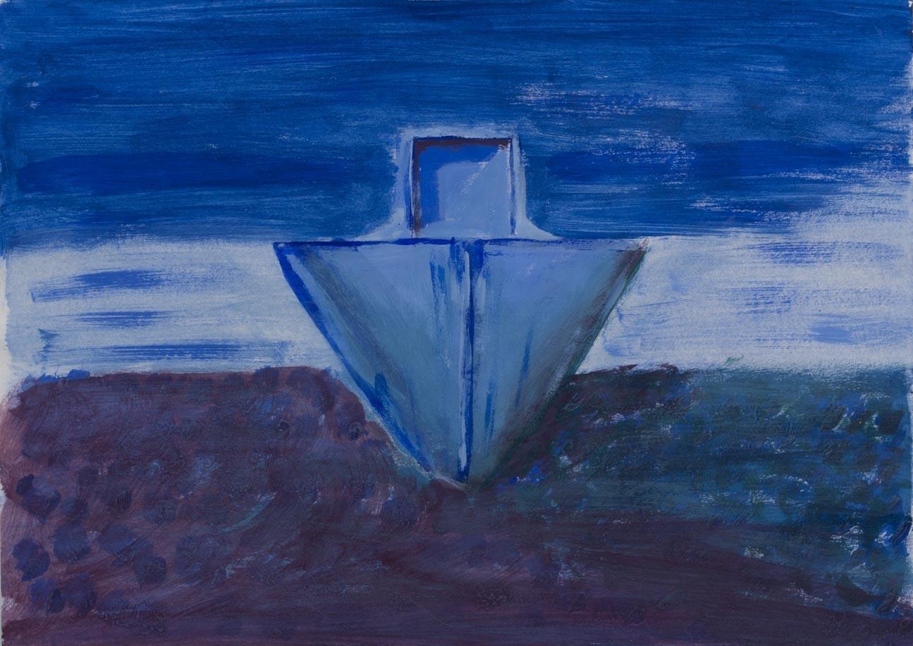 Barco azul,  2003 Acrilico sobre papel 24 x 34 cm