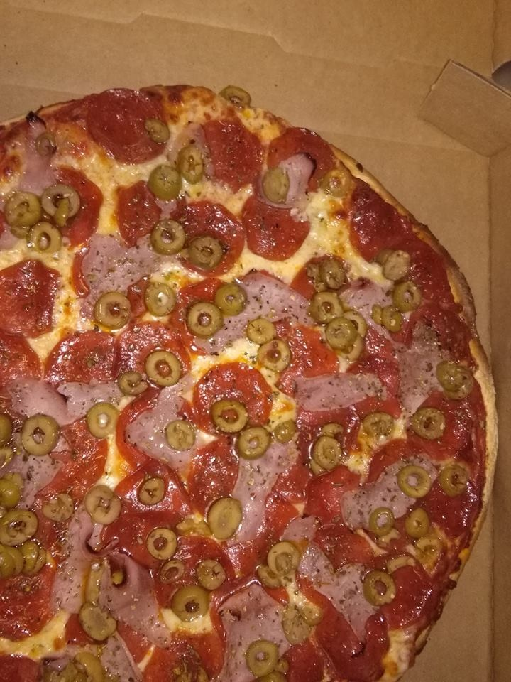 Green Olive, Ham, and Pepperoni Pizza