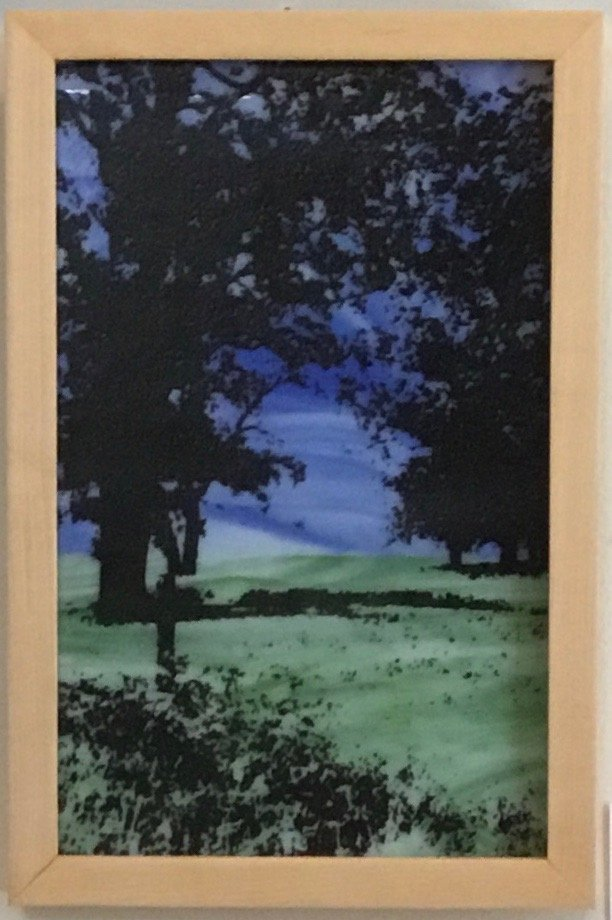 "Pasture Enamel on Fused Glass 9"" x 14""  $140. SOLD"