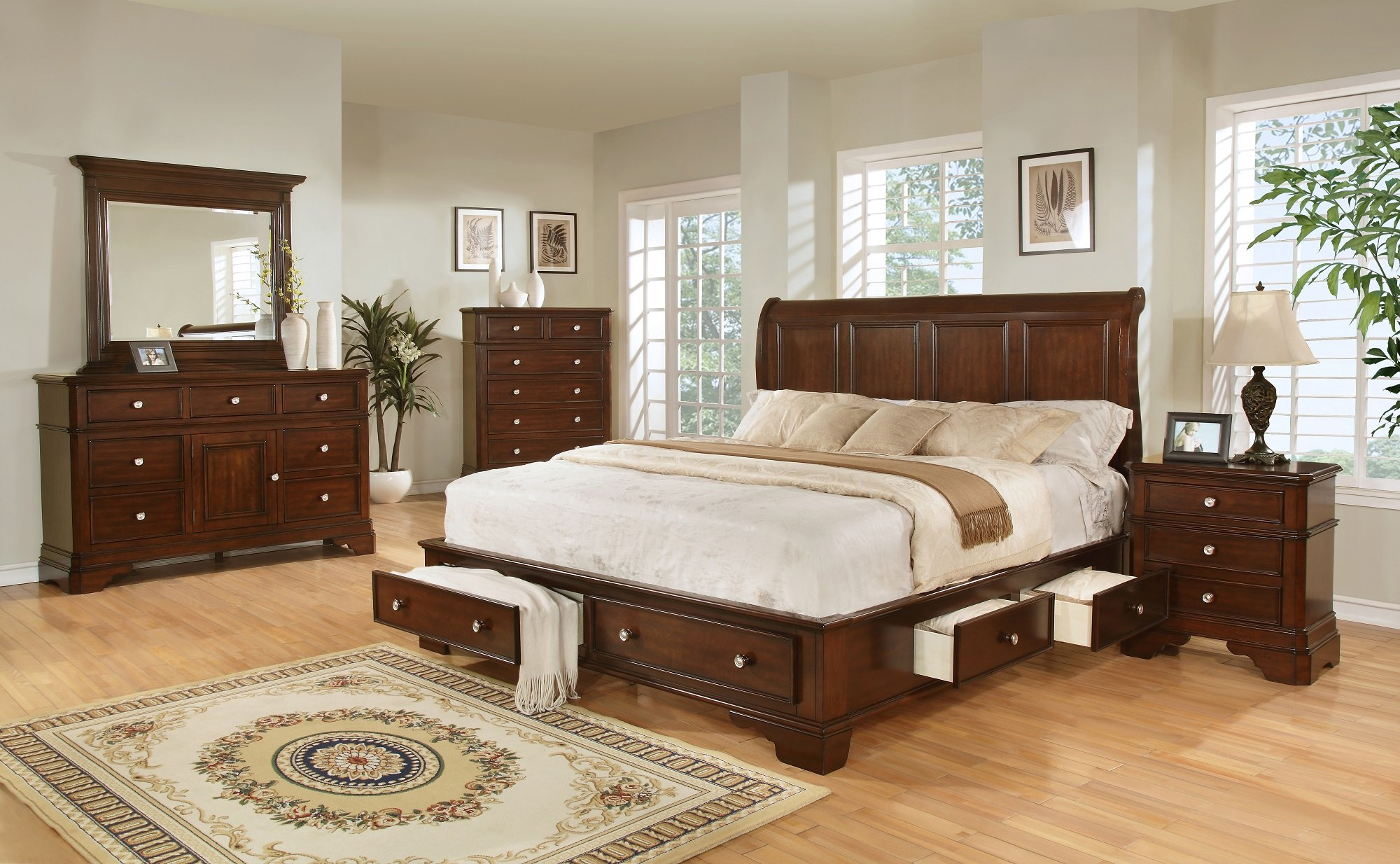 Bedroom furniture storage - B3185br Brown Cherry Storage Bedroom