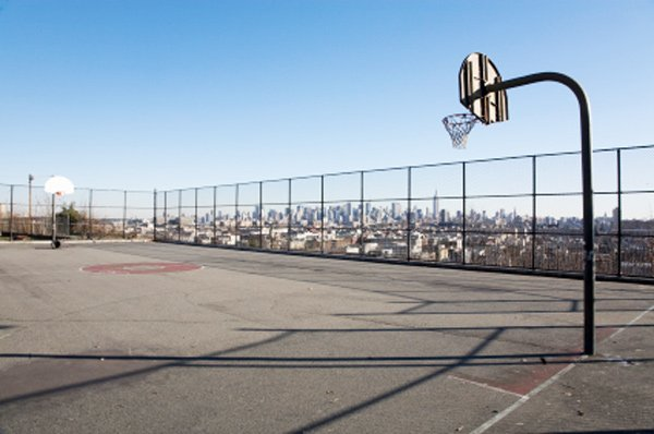 Basketball court with city