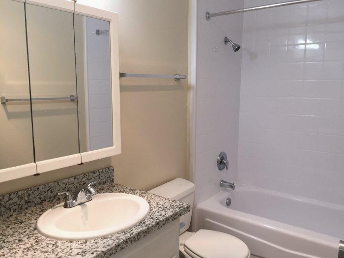 Bathroom has a new, granite countertop