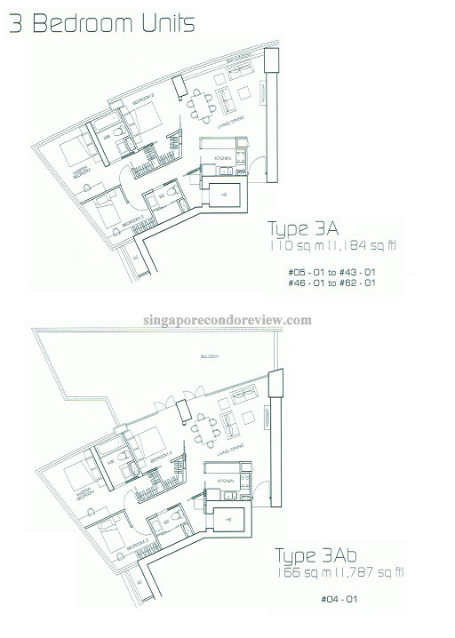 floorplan of stack 1, 3br