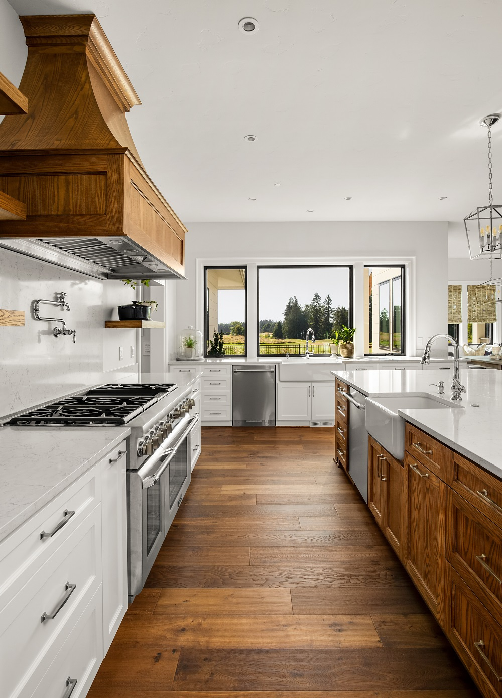 Dark Brown Wide-Plank Hardwood Floor in Kitchen