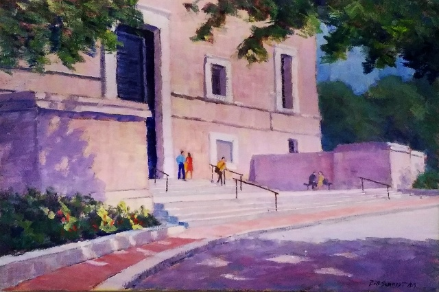 "Bill Schmidt, National Gallery West Bldg Entrance, 16"" x 24"" Oil"