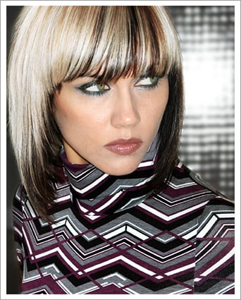 Woman with highlighted bob haircut||||