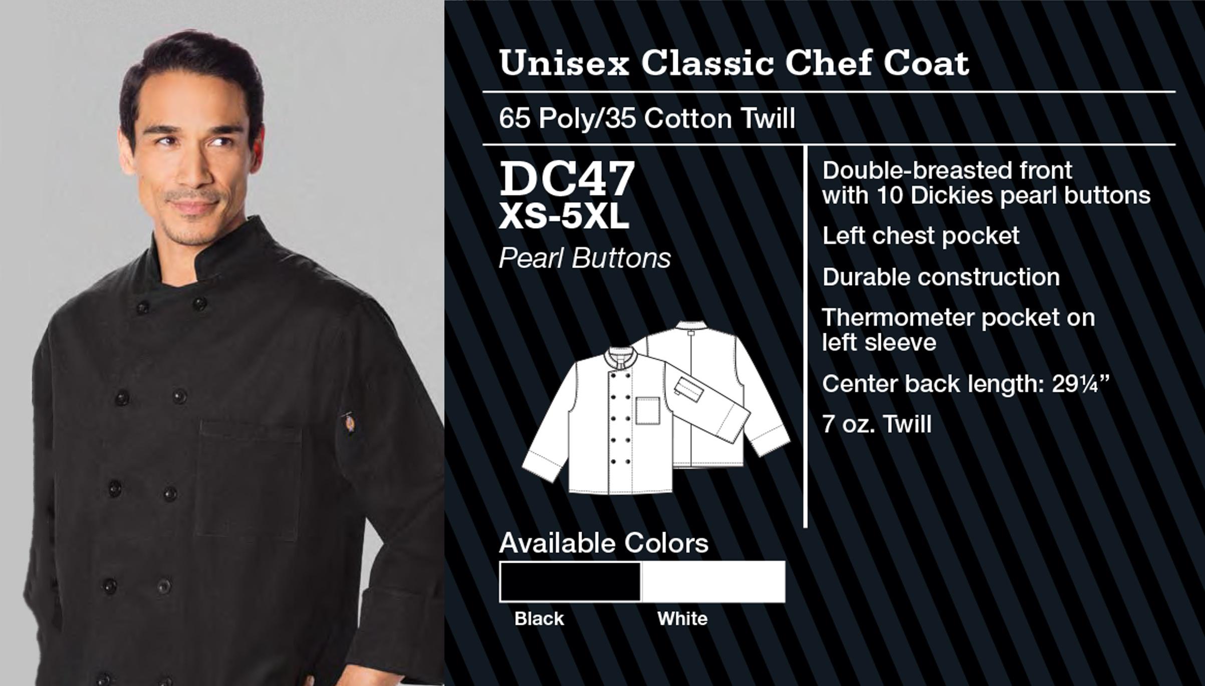 Abrigo de Chef Clásico Unisex. DC47.