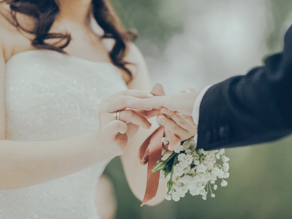 With this ring; Exchange vows on wedding day
