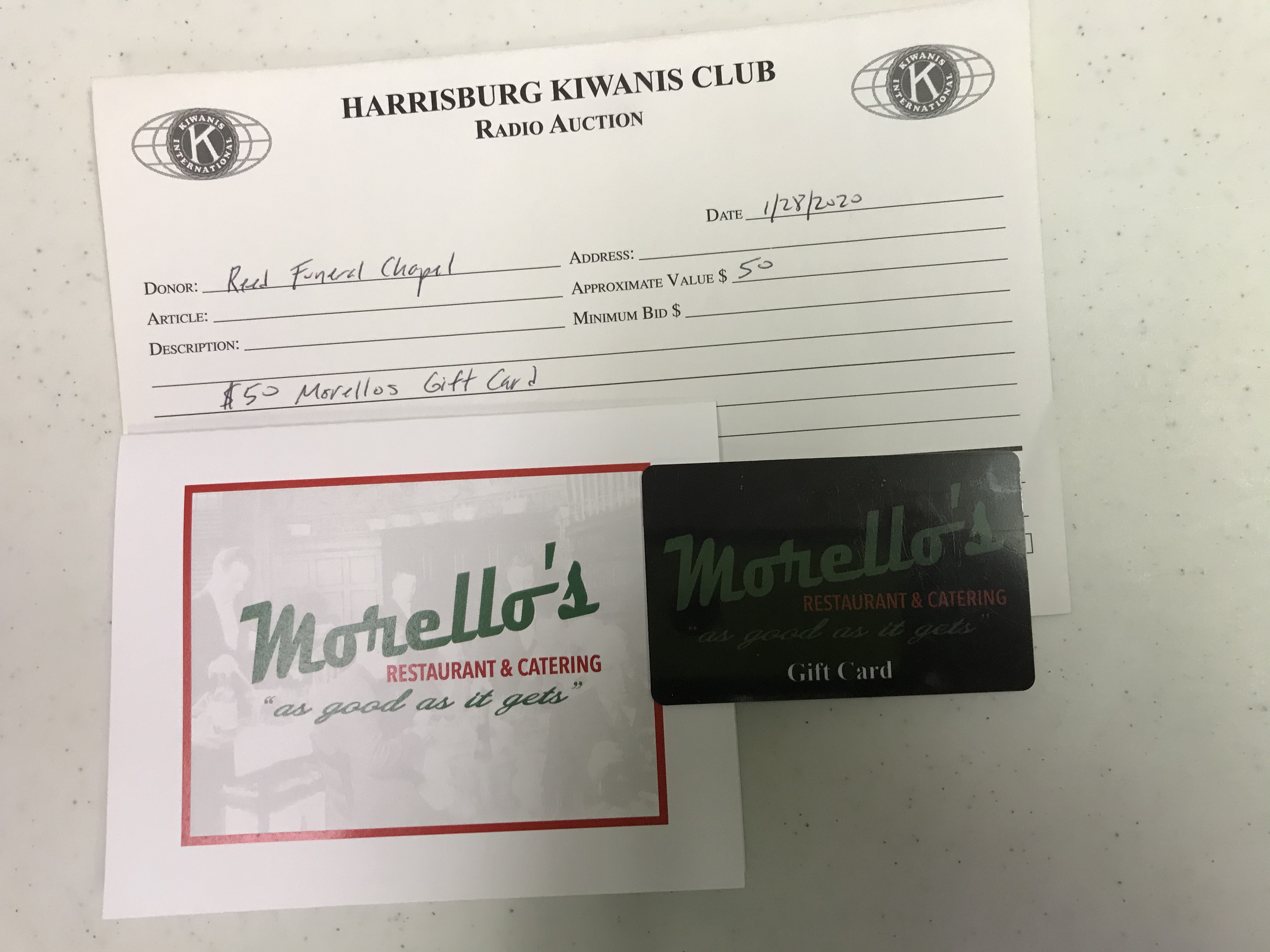 Item 215 - Reed Funeral Chapel $50 Morellos Gift Card