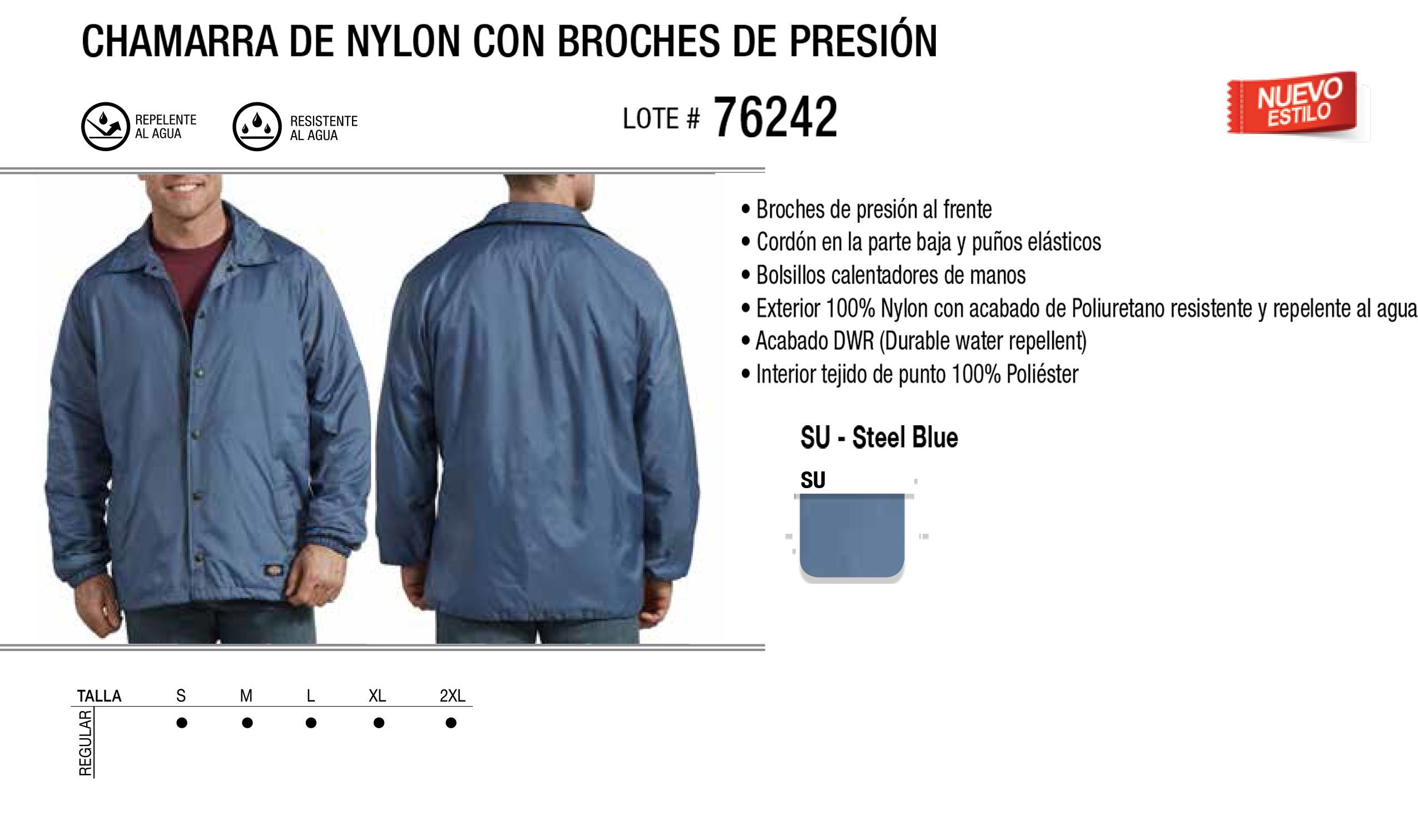 Chamarra de Nylon con Broches de Presión. 76242.