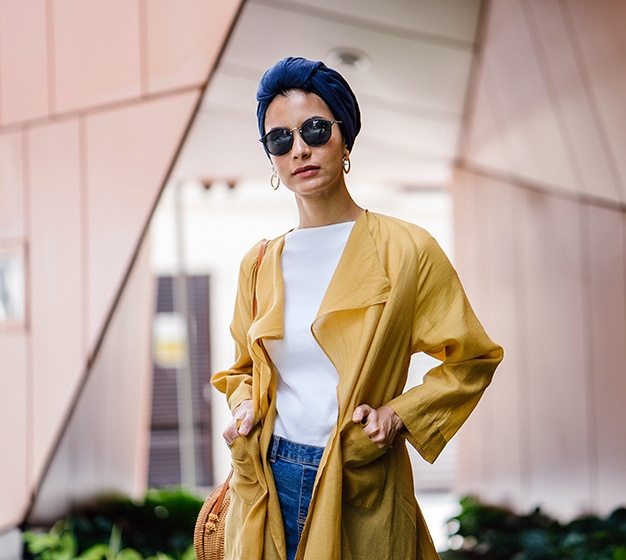 Stylish Woman In Yellow Coat
