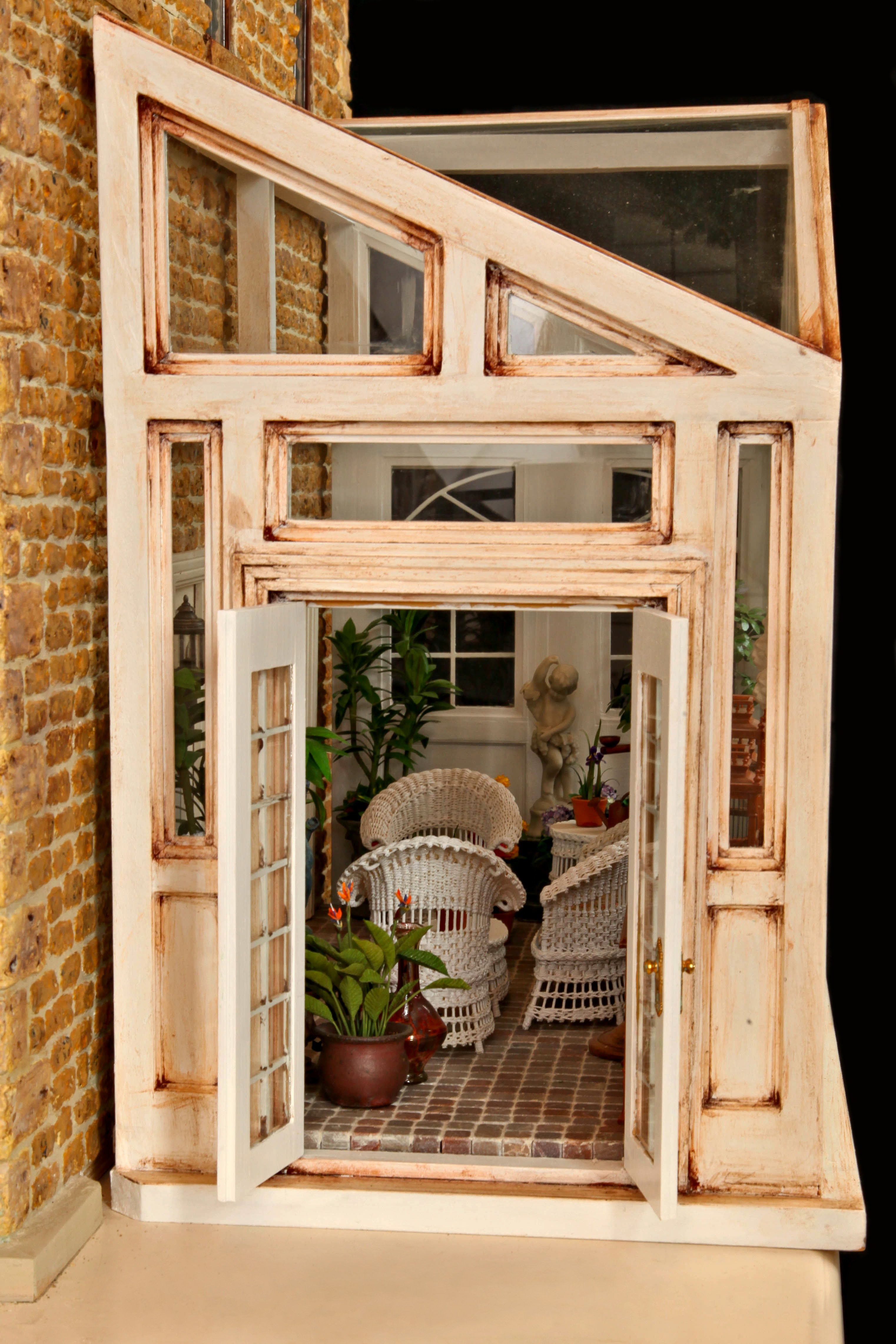 Glass Conservatory featuring wicker  by Rhea's Wicker  in Miniature